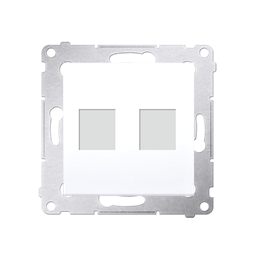 Pokrywa gniazd teleinformatycznych na Keystone płaska podwójna biały-253084
