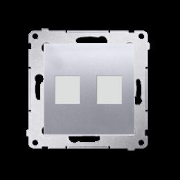 Pokrywa gniazd teleinformatycznych na Keystone płaska podwójna srebrny mat, metalizowany-253087