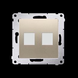 Pokrywa gniazd teleinformatycznych na Keystone płaska podwójna złoty mat, metalizowany-253088
