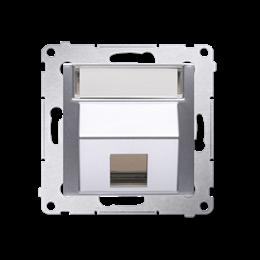 Pokrywa gniazd teleinformatycznych na Keystone skośna pojedyncza z polem opisowym srebrny mat, metalizowany-253093