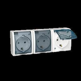 Gniazdo wtyczkowe potrójne z uziemieniem typu SCHUKO - w wersji IP54 -  klapka w kolorze transparentnym biały 16A-255755