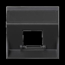 Plakietka teleinformatyczna SIMON 500 do adapterów MD pojedyncza bez osłon skośna 50×50mm szary grafit-256465