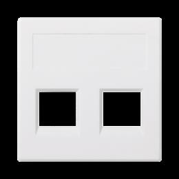 Plakietka teleinformatyczna SIMON 500 keystone podwójna bez osłon płaska uniwersalna 50×50mm czysta biel-256394