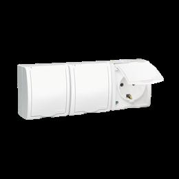 Gniazdo wtyczkowe potrójne z uziemieniem typu SCHUKO - w wersji IP54 -  klapka w kolorze białym biały 16A-255753