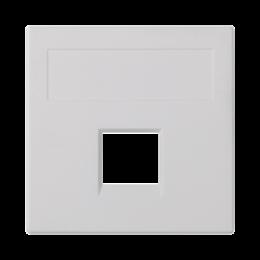 Plakietka teleinformatyczna SIMON 500 keystone pojedyncza bez osłon płaska uniwersalna 50×50mm czysta biel-256388
