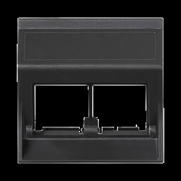 Plakietka teleinformatyczna SIMON 500 do adapterów MD podwójna bez osłon skośna 50×50mm szary grafit-256468