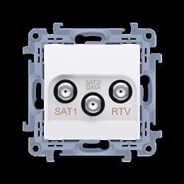 Gniazdo antenowe SAT-SAT-RTV satelitarne podwójne tłum.:1dB biały-254481