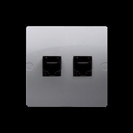 Gniazdo komputerowe RJ45 kategoria 5e + telefoniczne RJ11 (moduł) srebrny mat, metalizowany-254160