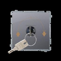 """Łącznik na kluczyk żaluzjowy 3 pozycyjny """"I-0-II"""" (moduł) 5A 250V, do lutowania, srebrny mat, metalizowany-253731"""
