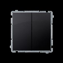 Przycisk podwójny zwierny. Dwuobwodowy: 2 wejścia, 2 wyjścia. (moduł) 10AX 250V, szybkozłącza, grafit mat, metalizowany-253641