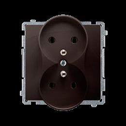 Gniazdo wtyczkowe podwójne z uziemieniem czekoladowy mat, metalizowany 16A-253739