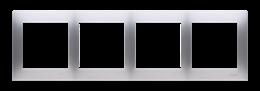 Ramka 4- krotna do puszek karton-gips srebrny mat, metalizowany-251641