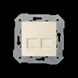 Pokrywa gniazd teleinformatycznych na Keystone płaska podwójna beżowy-251307
