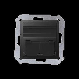 Pokrywa gniazd teleinformatycznych na Keystone skośna pojedyncza lub podwójna grafit-251311