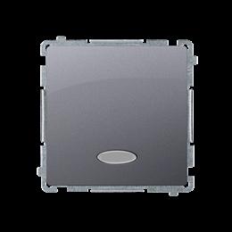 Łącznik jednobiegunowy z podświetleniem LED nie wymienialny kolor: niebieski (moduł) 10AX 250V, szybkozłącza, inox, metalizowany