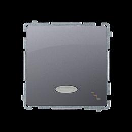 Łącznik schodowy z podświetleniem LED nie wymienialny kolor: niebieski (moduł) 10AX 250V, szybkozłącza, inox, metalizowany-25349