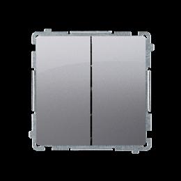 Łącznik schodowy podwójny z podświetleniem LED nie wymienialny kolor: niebieski (moduł) 10AX 230V, zaciski śrubowe, inox, metali
