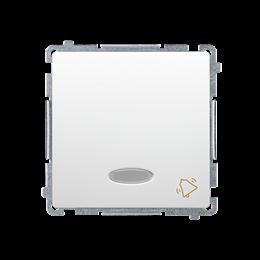 """Przycisk """"dzwonek"""" z podświetleniem LED nie wymienialny kolor: niebieski (moduł) 10AX 250V, szybkozłącza, biały-253587"""