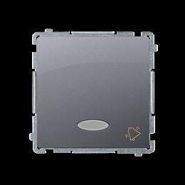 """Przycisk """"dzwonek"""" z podświetleniem LED nie wymienialny kolor: niebieski (moduł) 10AX 250V, szybkozłącza, inox, metalizowany-253"""