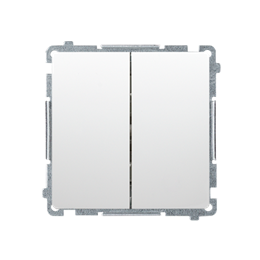 Przycisk podwójny zwierny. Dwuobwodowy: 2 wejścia, 2 wyjścia. (moduł) 10AX 250V, szybkozłącza, biały-253638