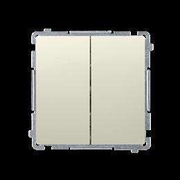 Przycisk podwójny zwierny. Dwuobwodowy: 2 wejścia, 2 wyjścia. (moduł) 10AX 250V, szybkozłącza, beżowy-253639