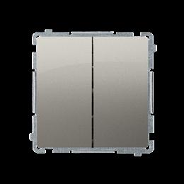 Przycisk podwójny zwierny. Dwuobwodowy: 2 wejścia, 2 wyjścia. (moduł) 10AX 250V, szybkozłącza, satynowy, metalizowany-253642