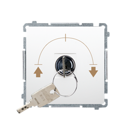 """Łącznik na kluczyk żaluzjowy 3 pozycyjny """"I-0-II"""" (moduł) 5A 250V, do lutowania, biały-253726"""