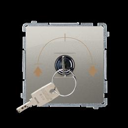 """Łącznik na kluczyk żaluzjowy 3 pozycyjny """"I-0-II"""" (moduł) 5A 250V, do lutowania, satynowy, metalizowany-253730"""