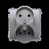 Gniazdo wtyczkowe podwójne z uziemieniem z przesłonami inox, metalizowany 16A-253750
