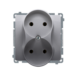 Gniazdo wtyczkowe podwójne bez uziemienia inox, metalizowany 16A-253742