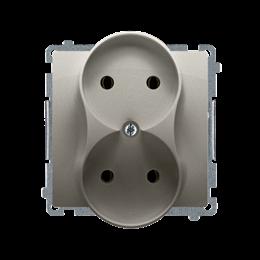 Gniazdo wtyczkowe podwójne bez uziemienia satynowy, metalizowany 16A-253743