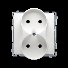 Gniazdo wtyczkowe podwójne bez uziemienia z przesłonami torów prądowych biały 16A-253754