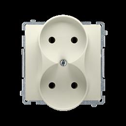 Gniazdo wtyczkowe podwójne bez uziemienia z przesłonami torów prądowych beżowy 16A-253755