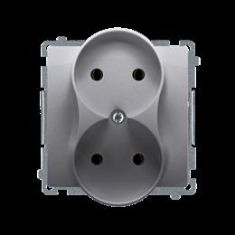 Gniazdo wtyczkowe podwójne bez uziemienia z przesłonami torów prądowych inox, metalizowany 16A-253756