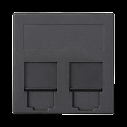 Plakietka teleinformatyczna SIMON 500 keystone podwójna płaska uniwersalna z osłonami 50×50mm szary grafit-256393