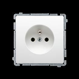 Gniazdo wtyczkowe pojedyncze z uziemieniem z przesłonami torów prądowych biały 16A-253796