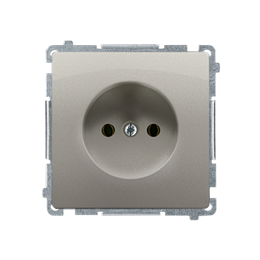 Gniazdo wtyczkowe pojedyncze bez uziemienia satynowy, metalizowany 16A-253815
