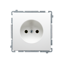 Gniazdo wtyczkowe podjedyncze bez uziemienia z przesłonami torów prądowych biały 16A-253826