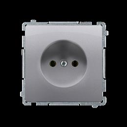 Gniazdo wtyczkowe podjedyncze bez uziemienia z przesłonami torów prądowych inox, metalizowany 16A-253828
