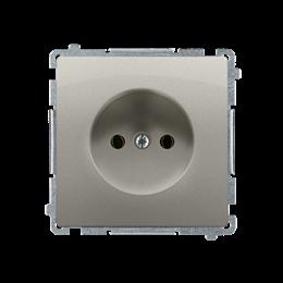 Gniazdo wtyczkowe podjedyncze bez uziemienia z przesłonami torów prądowych satynowy, metalizowany 16A-253829