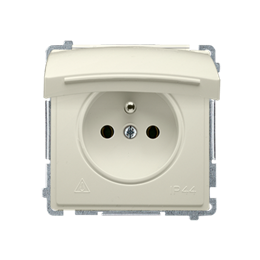 Gniazdo wtyczkowe pojedyncze w wersji IP44 -  klapka w kolorze pokrywy beżowy 16A-253834