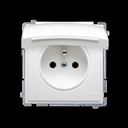 Gniazdo wtyczkowe pojedyncze w wersji IP44 z przesłonami torów prądowych -  klapka w kolorze pokrywy biały 16A-253835