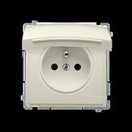 Gniazdo wtyczkowe pojedyncze w wersji IP44 z przesłonami torów prądowych -  klapka w kolorze pokrywy beżowy 16A-253836