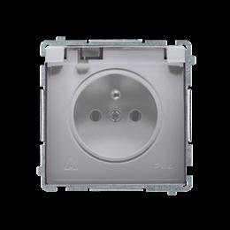 Gniazdo wtyczkowe pojedyncze w wersji IP44 -  klapka w kolorze transparentnym inox, metalizowany 16A-253839