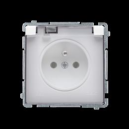 Gniazdo wtyczkowe pojedyncze w wersji IP44 z przesłonami torów prądowych -  klapka w kolorze transparentnym biały 16A-253849