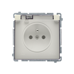 Gniazdo wtyczkowe pojedyncze w wersji IP44 z przesłonami torów prądowych -  klapka w kolorze transparentnym beżowy 16A-253844