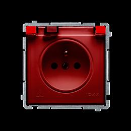 Gniazdo wtyczkowe pojedyncze w wersji IP44 z przesłonami torów prądowych -  klapka w kolorze transparentnym czerwony 16A-253847