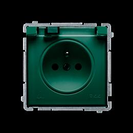 Gniazdo wtyczkowe pojedyncze w wersji IP44 z przesłonami torów prądowych -  klapka w kolorze transparentnym zielony 16A-253848