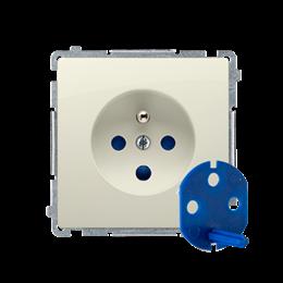 Gniazdo wtyczkowe pojedyncze DATA z kluczem uprawniającym beżowy 16A-253854