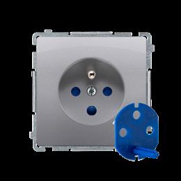 Gniazdo wtyczkowe pojedyncze DATA z kluczem uprawniającym inox, metalizowany 16A-253857